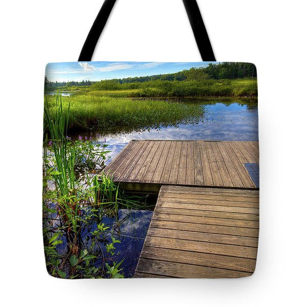 The Dock At Mountainman Tote Bag by David Patterson