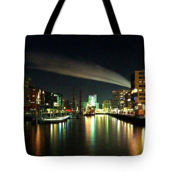 The Docks Of Hamburg By Night Tote Bag by Rob Hawkins