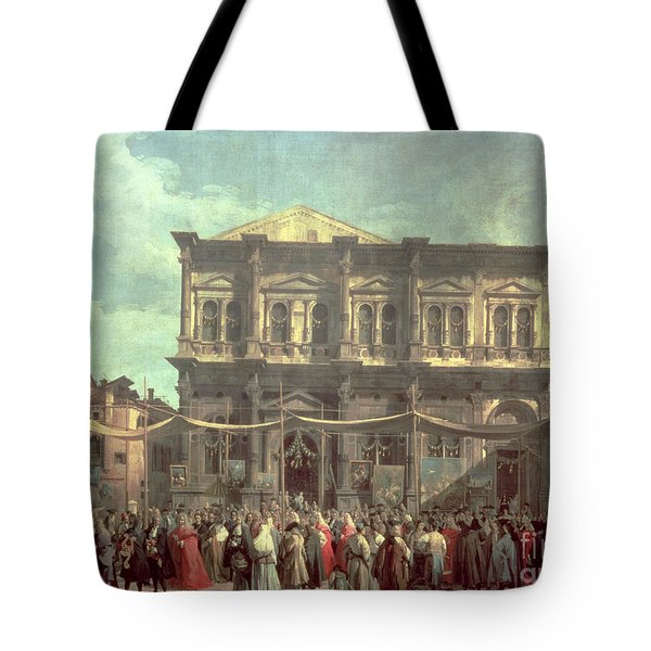 The Doge Visiting The Church And Scuola Di San Rocco Tote Bag by Canaletto