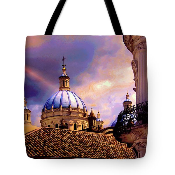 The Domes Of Immaculate Conception, Cuenca, Ecuador Tote Bag by Al Bourassa