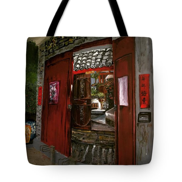 Tote Bag featuring the painting The Red Door by Belinda Low