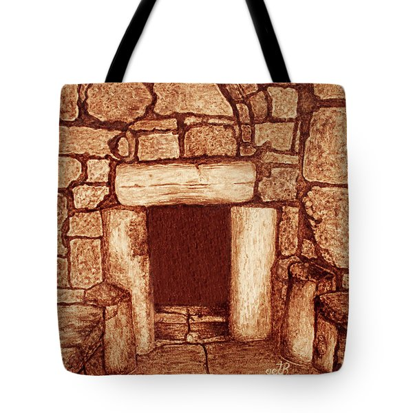 Tote Bag featuring the painting The Door Of Humility At The Church Of The Nativity Bethlehem by Georgeta Blanaru