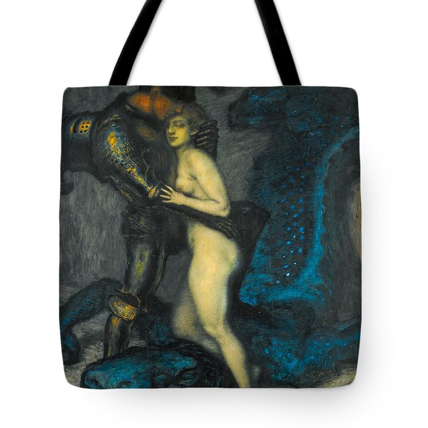 Tote Bag featuring the painting The Dragon Slayer by Franz von Stuck