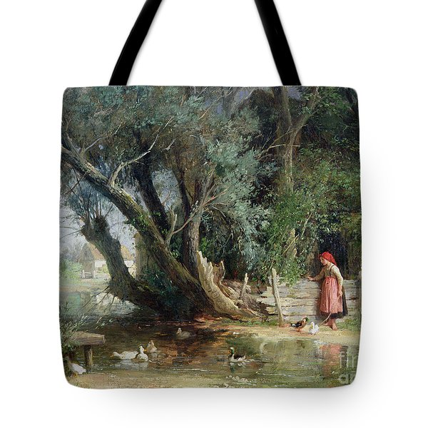 The Duck Pond Tote Bag by Eduard Heinel