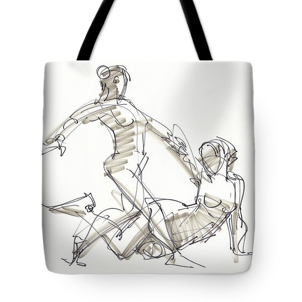 Tote Bag featuring the drawing The Duo by Judith Kunzle