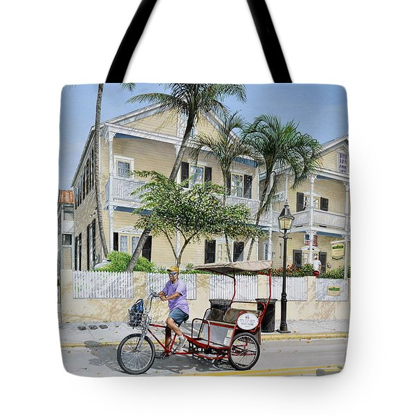 Tote Bag featuring the painting The Duval House, Key West, Florida by Bob George