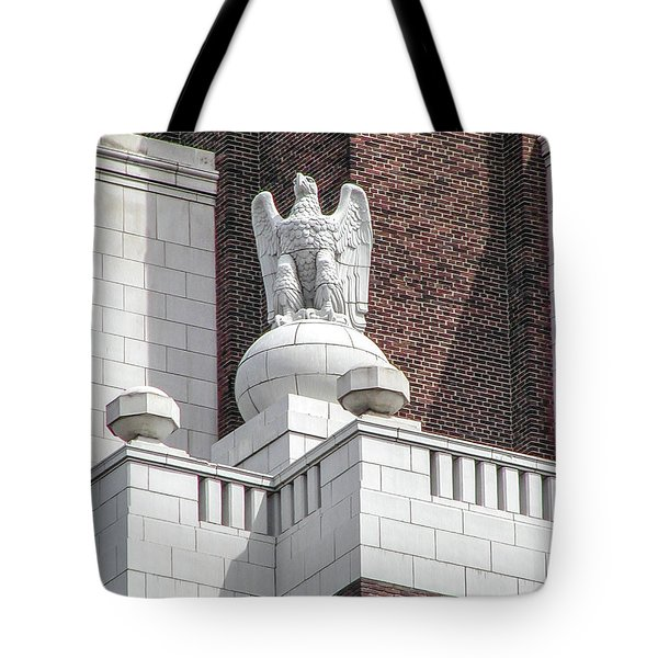 Tote Bag featuring the photograph The Eagle On The United States Custom House Philadelphia Pennsyl by Bill Cannon
