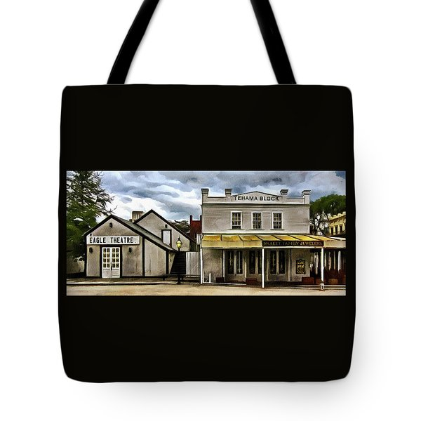 Tote Bag featuring the photograph The Eagle Theater And Skalet Family Jewelers Old Sacramento by Thom Zehrfeld