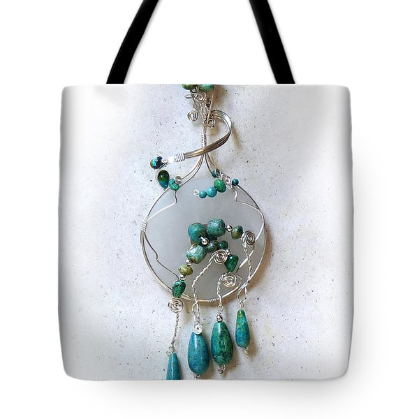 The Earth And Sky And Sea Tote Bag by Rhonda Chase