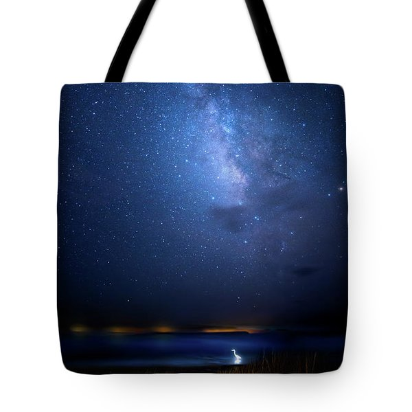 Tote Bag featuring the photograph The Egret And The Milky Way by Mark Andrew Thomas