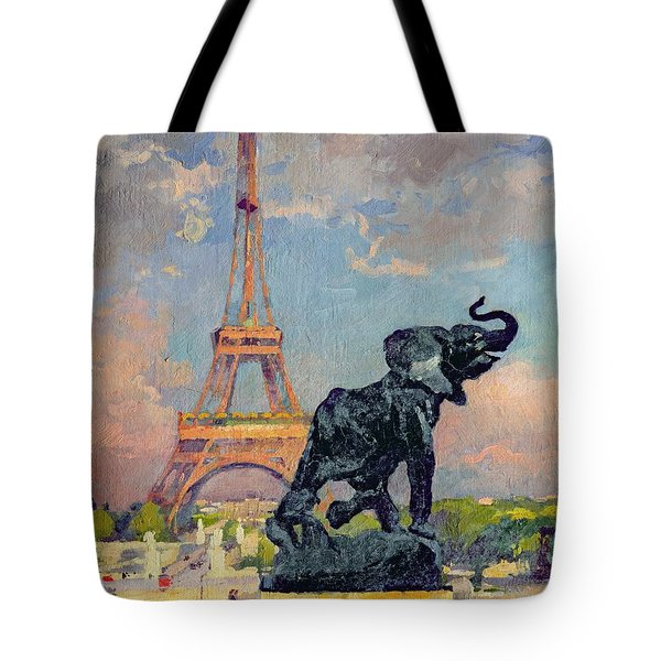 The Eiffel Tower And The Elephant By Fremiet Tote Bag by Jules Ernest Renoux