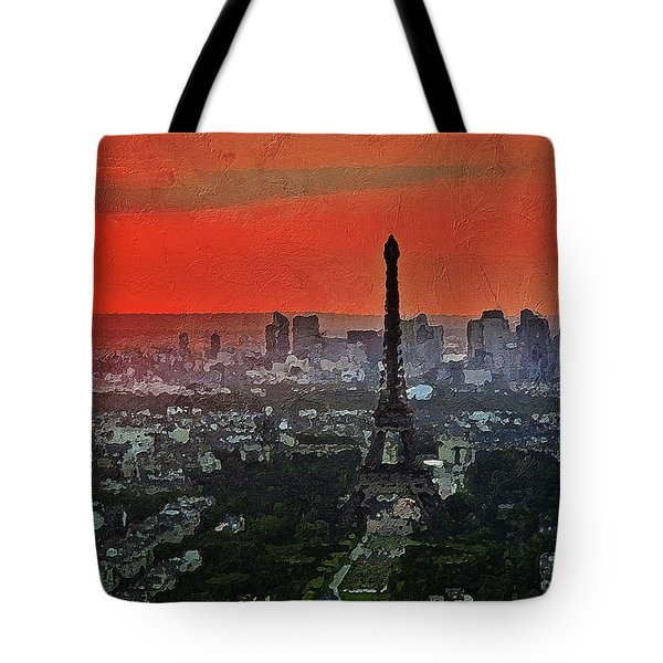 Tote Bag featuring the painting The Eiffel Tower by PixBreak Art