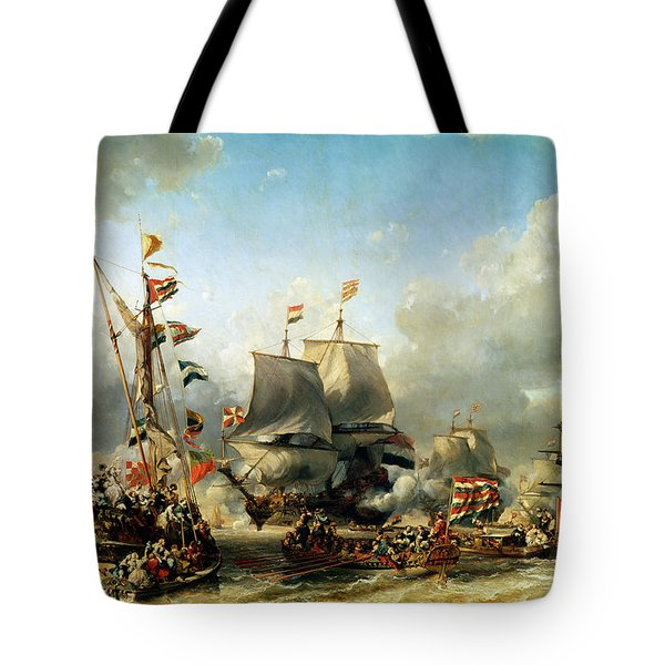 The Embarkation Of Ruyter And William De Witt In 1667 Tote Bag by Louis Eugene Gabriel Isabey
