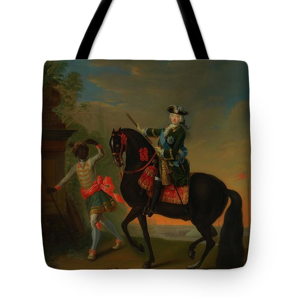 Tote Bag featuring the painting The Empress Elizabeth Of Russia by Georg Grooth