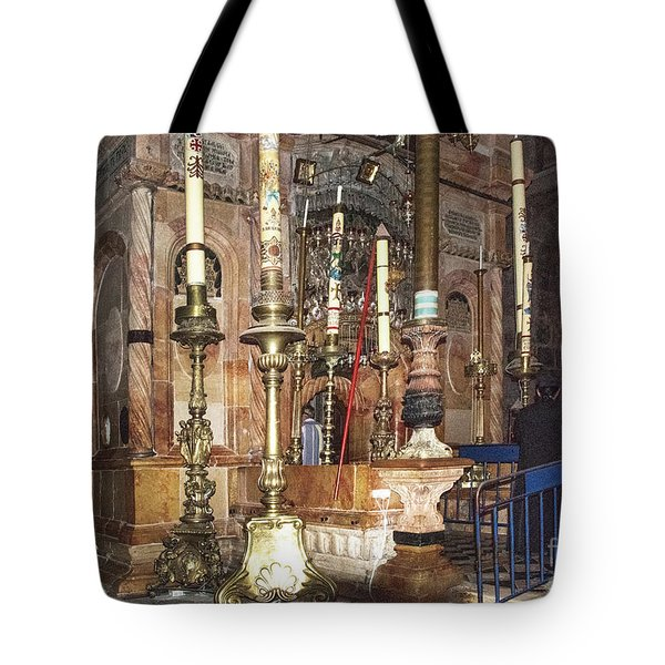 Tote Bag featuring the photograph The Empty Tomb Of Christ by Mae Wertz