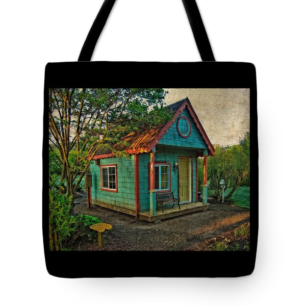 Tote Bag featuring the photograph The Enchanted Garden Shed by Thom Zehrfeld