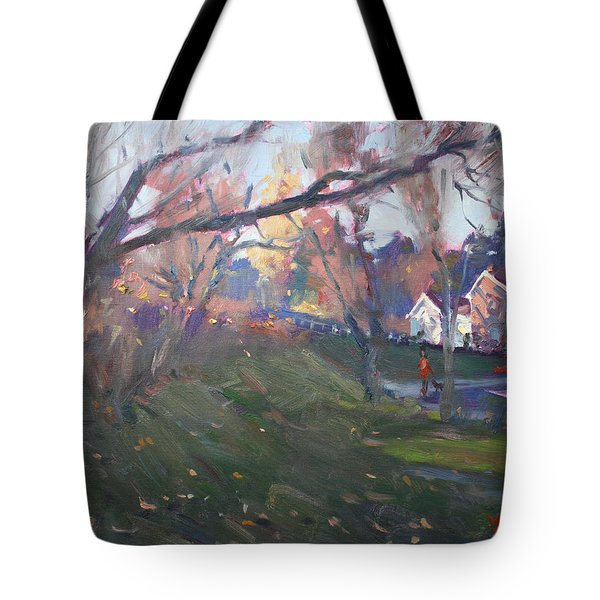 The End Of Autumn Day In Glen Williams On Tote Bag