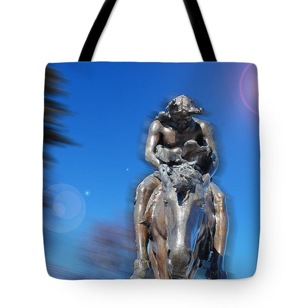 The End Of The Trail - A Tribute To The Native Americans Tote Bag by Janice Adomeit