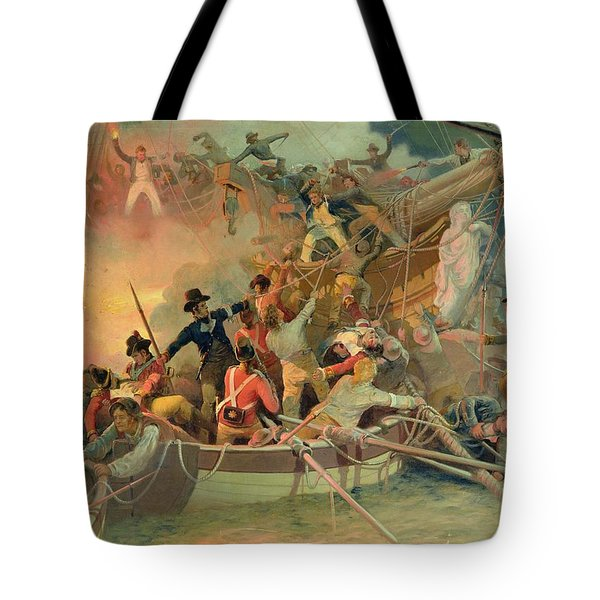 The English Navy Conquering A French Ship Near The Cape Camaro Tote Bag by English School