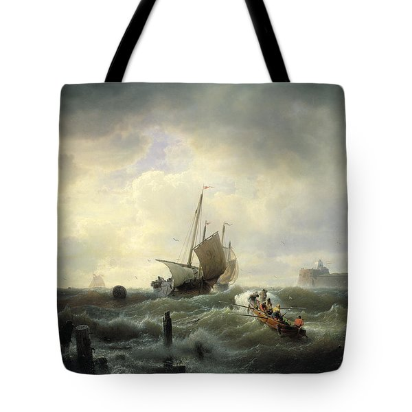 The Entrance To The Harbour At Hellevoetsluys Tote Bag by Andreas Achenbach