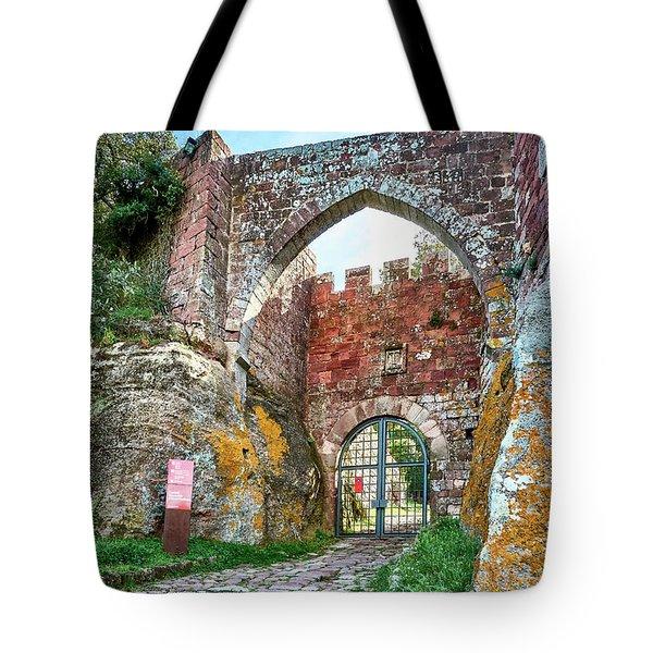 The Entrance To The Monastery Of Escornalbou Tote Bag