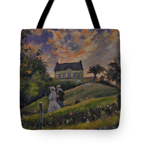 Tote Bag featuring the painting The Evening Stroll Around The Hoeve Zonneberg by Nop Briex
