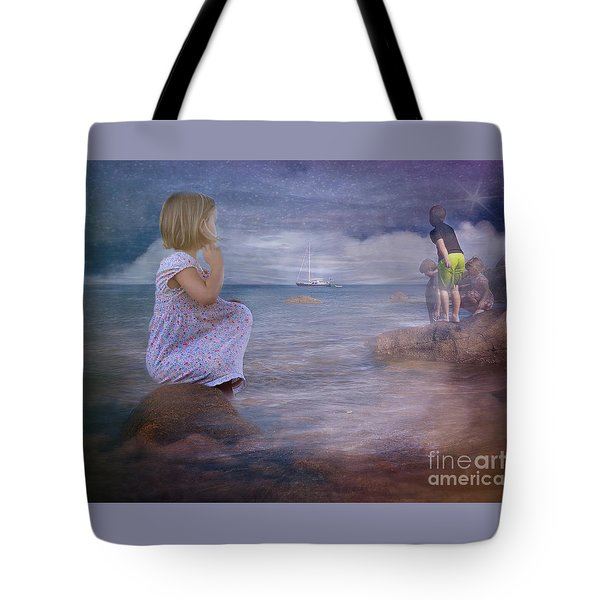 The Explorers Underneath The Night Sky At The Seashore Tote Bag