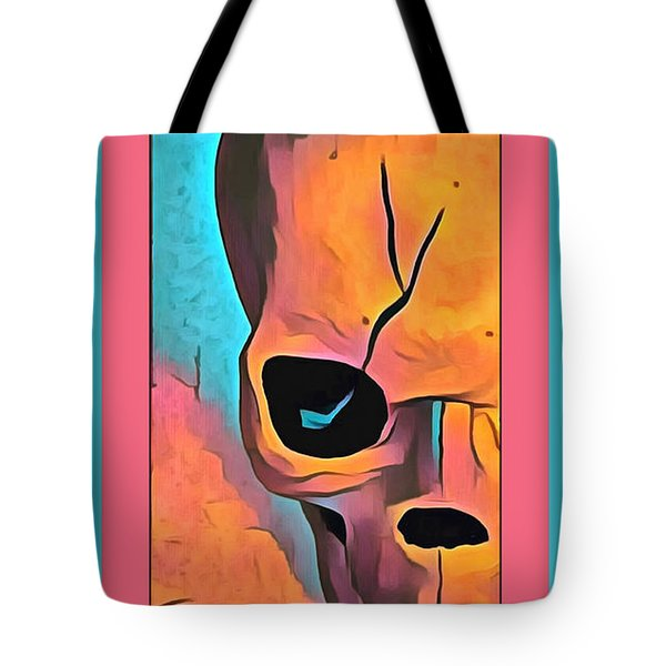 Tote Bag featuring the digital art The Eye Of Death Abstract Skull by Floyd Snyder