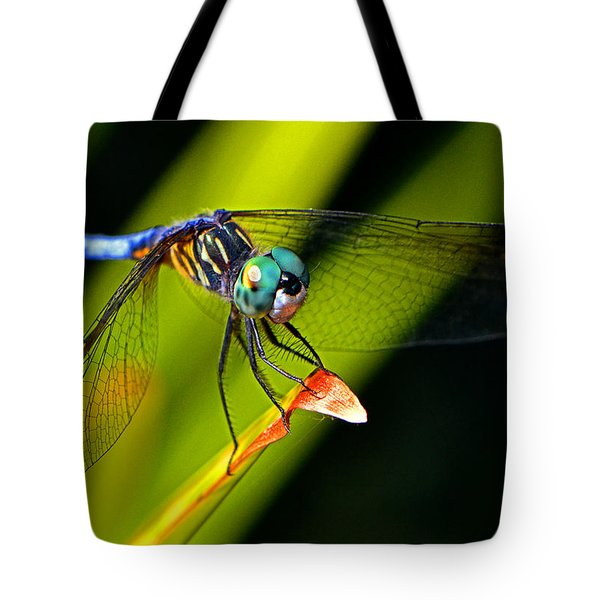 Tote Bag featuring the photograph The Face Of A Dragonfly 003 by George Bostian