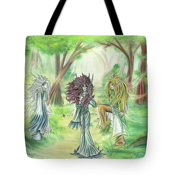 Tote Bag featuring the painting The Fae - Sylvan Creatures Of The Forest by Shawn Dall