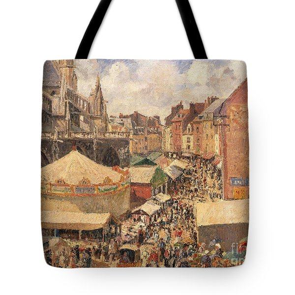 The Fair In Dieppe Tote Bag by Camille Pissarro
