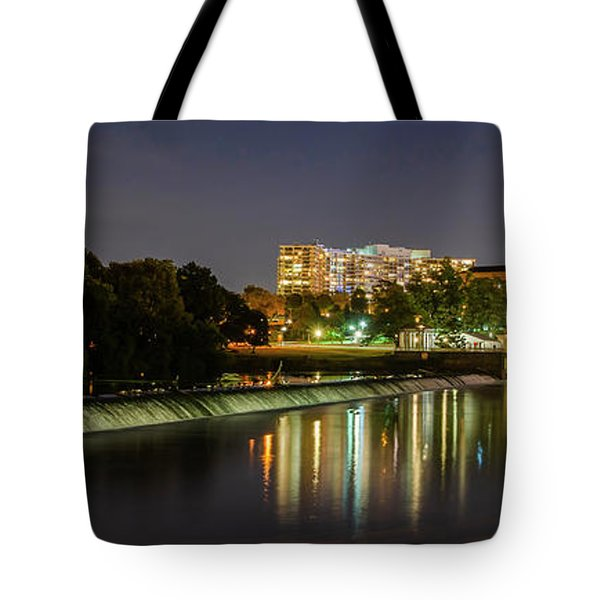 Tote Bag featuring the photograph The Fairmount Dam And Art Museum At Night Panorama by Bill Cannon