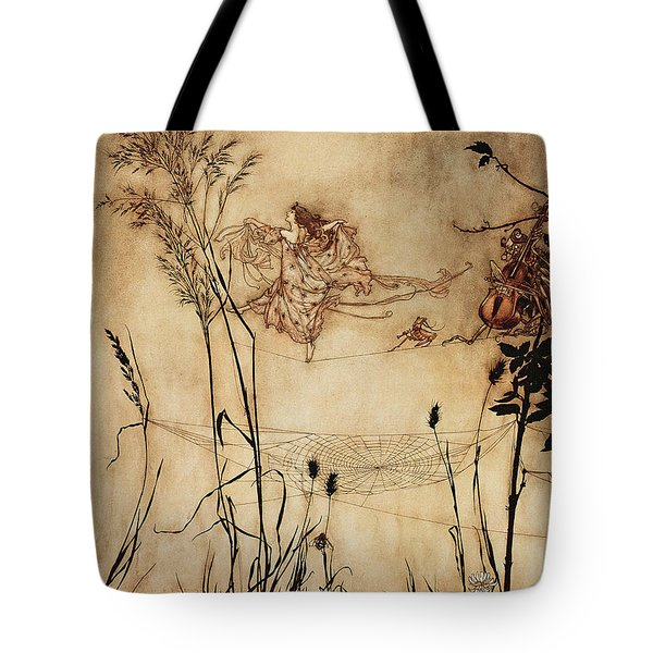 The Fairy's Tightrope From Peter Pan In Kensington Gardens Tote Bag by Arthur Rackham