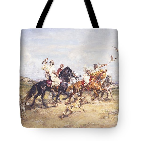 The Falcon Chase Tote Bag by Henri Emilien Rousseau