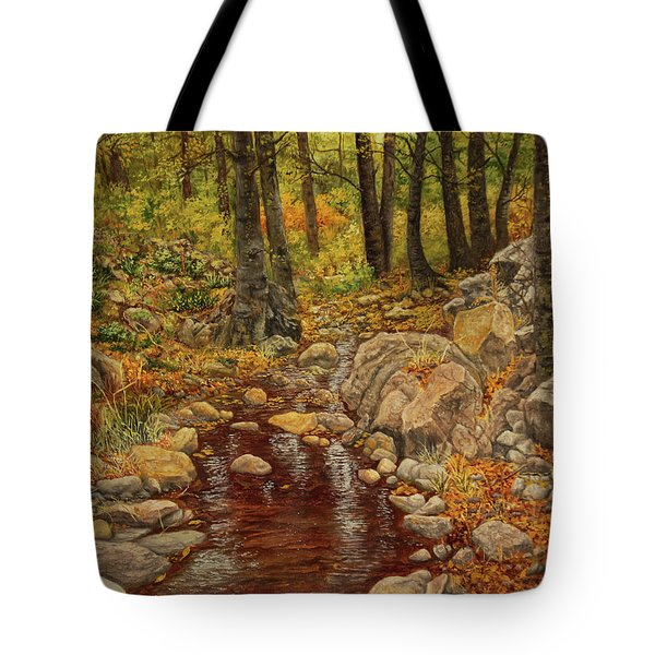 Tote Bag featuring the painting The Fall Stream by Roena King