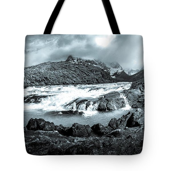 Tote Bag featuring the photograph The Falls In Black And White by Andrew Matwijec