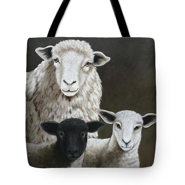 The Family - Sheep Oil Painting Tote Bag
