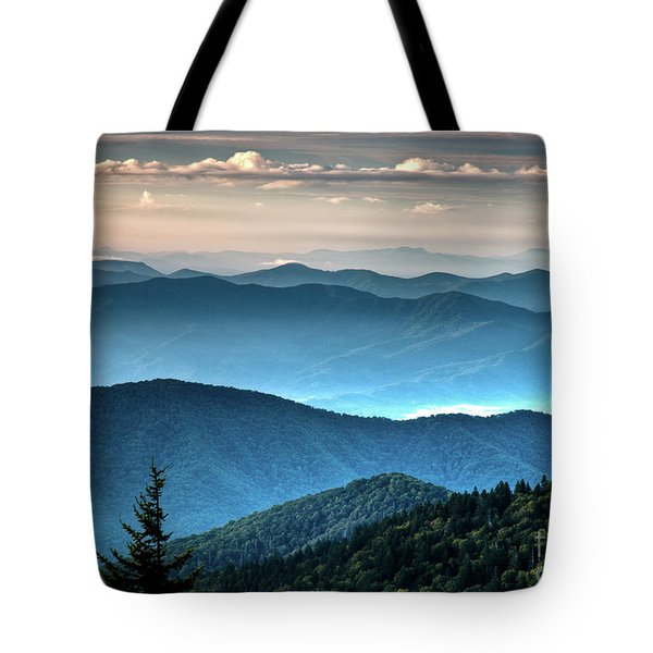The Far Blue Smoky Mtns. Tote Bag