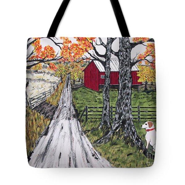Sadie The Farm Dog Tote Bag by Jeffrey Koss