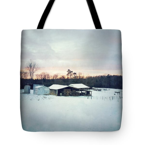The Farm In Snow At Sunset Tote Bag