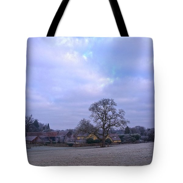 The Farm In Winter Tote Bag by Anne Kotan