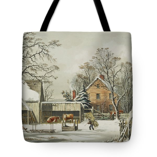 The Farmers Home  Winter, 1863 Tote Bag