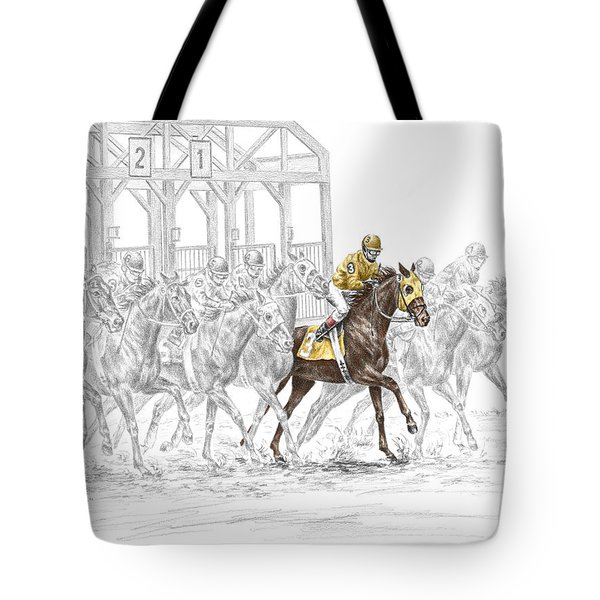 The Favorite - Thoroughbred Race Print Color Tinted Tote Bag