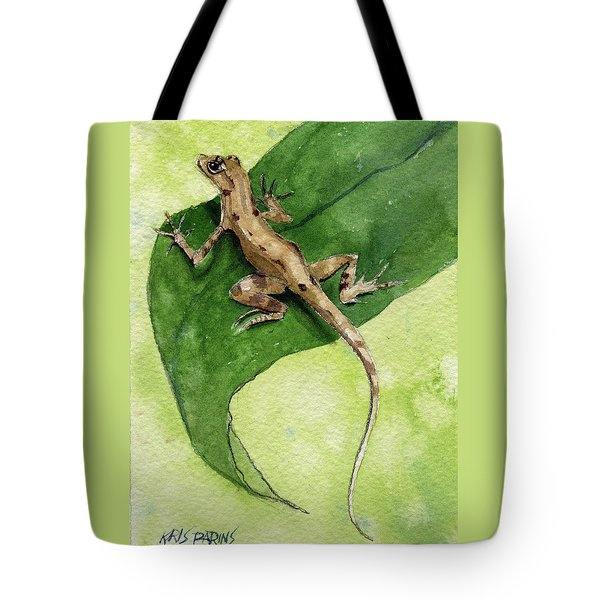 Tote Bag featuring the painting The Feckless Gecko by Kris Parins