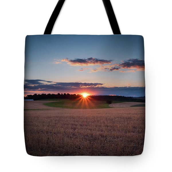 Tote Bag featuring the photograph The Fields At Sunset by Mark Dodd
