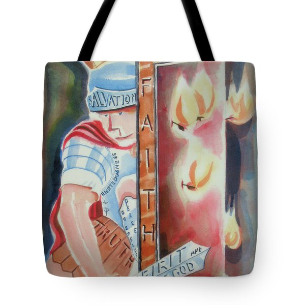 Tote Bag featuring the painting The Fiery Darts Of The Evil One 2 by Kip DeVore
