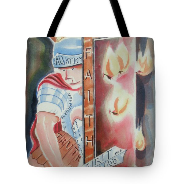 Tote Bag featuring the painting The Fiery Darts Of The Evil One by Kip DeVore