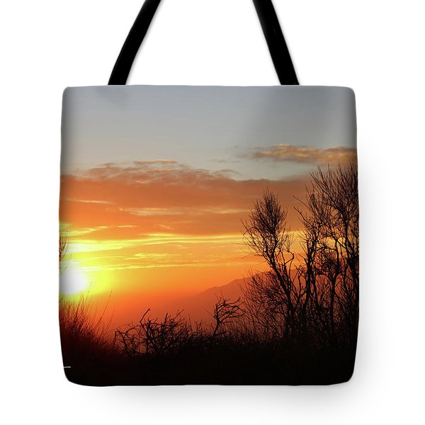 Tote Bag featuring the photograph The Fire Of Sunset by T A Davies
