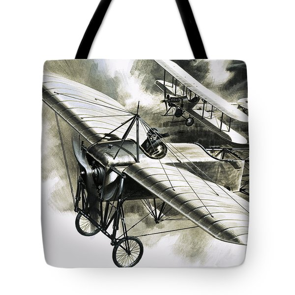 The First Reconnaissance Flight By The Rfc Tote Bag by Wilf Hardy