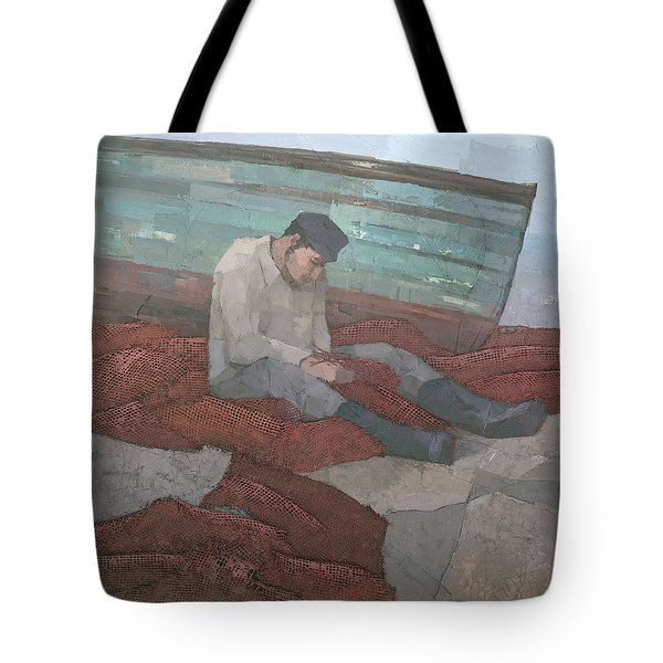 Tote Bag featuring the painting The Fisherman by Steve Mitchell